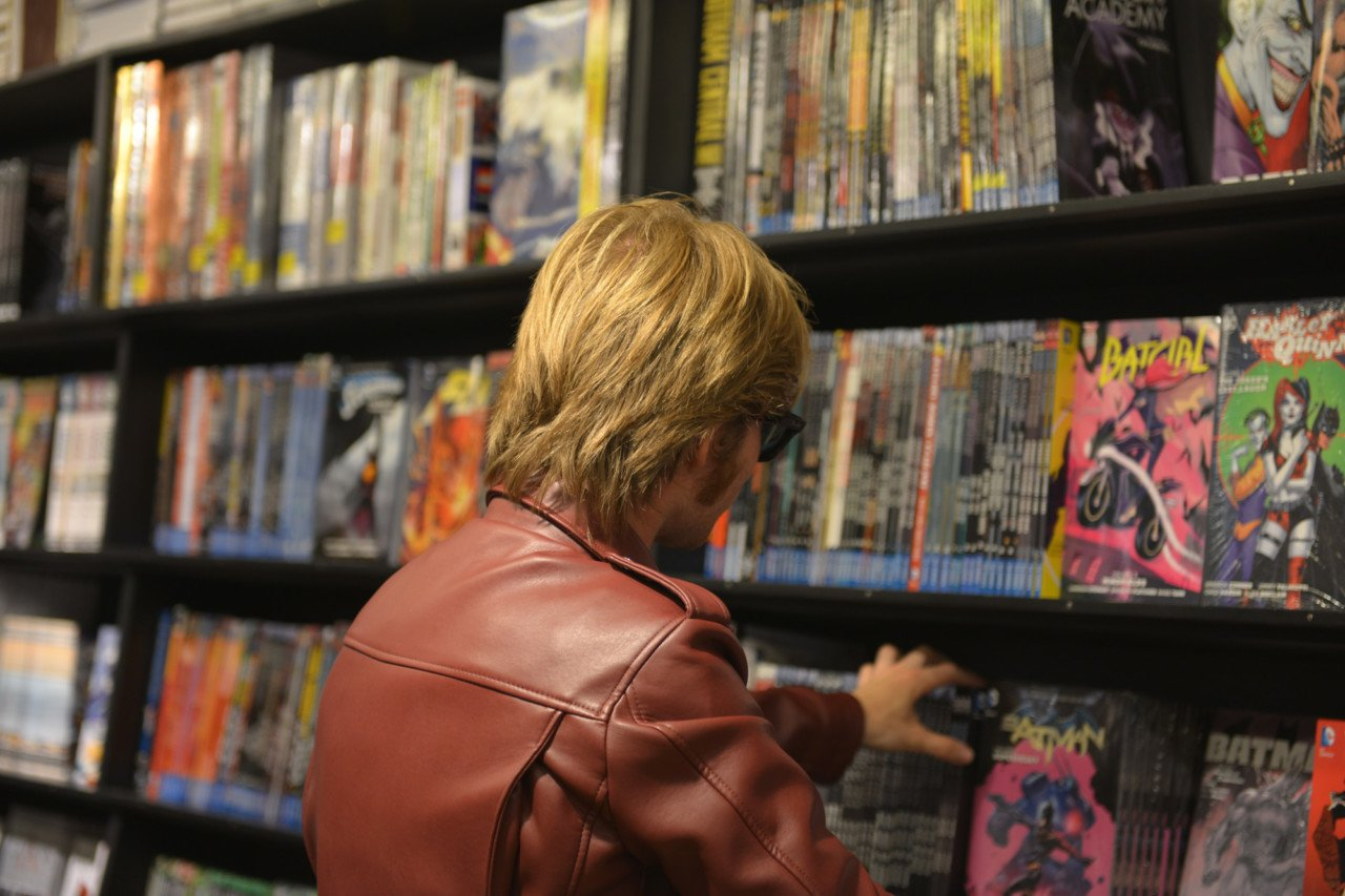 Stacked shelves at Farao's Cigarer, Copenhagen's biggest comic book store