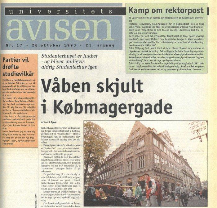 Forside af Uniavisen den 28. oktober 1993